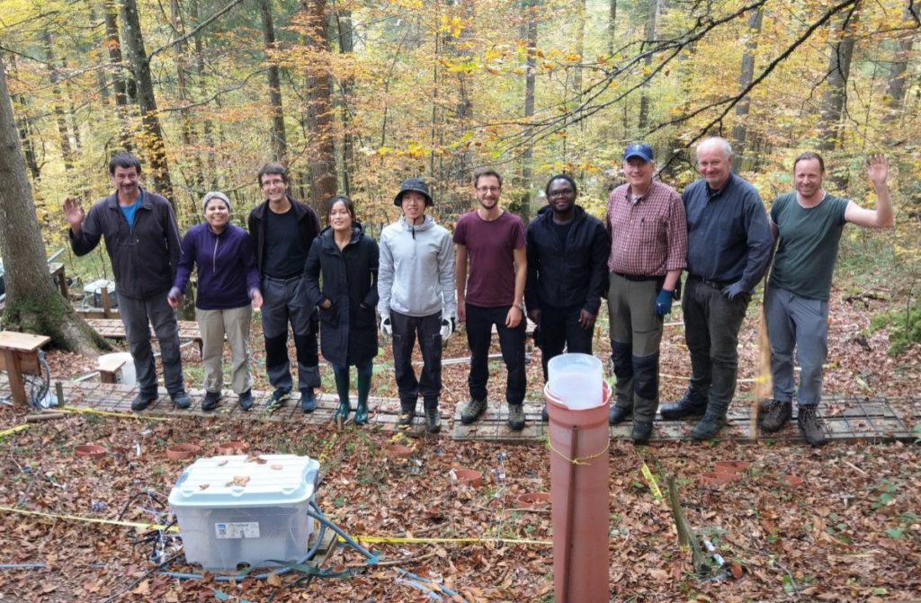 Forschungsteam, bestehend aus 10 Personen, stehen im Wald