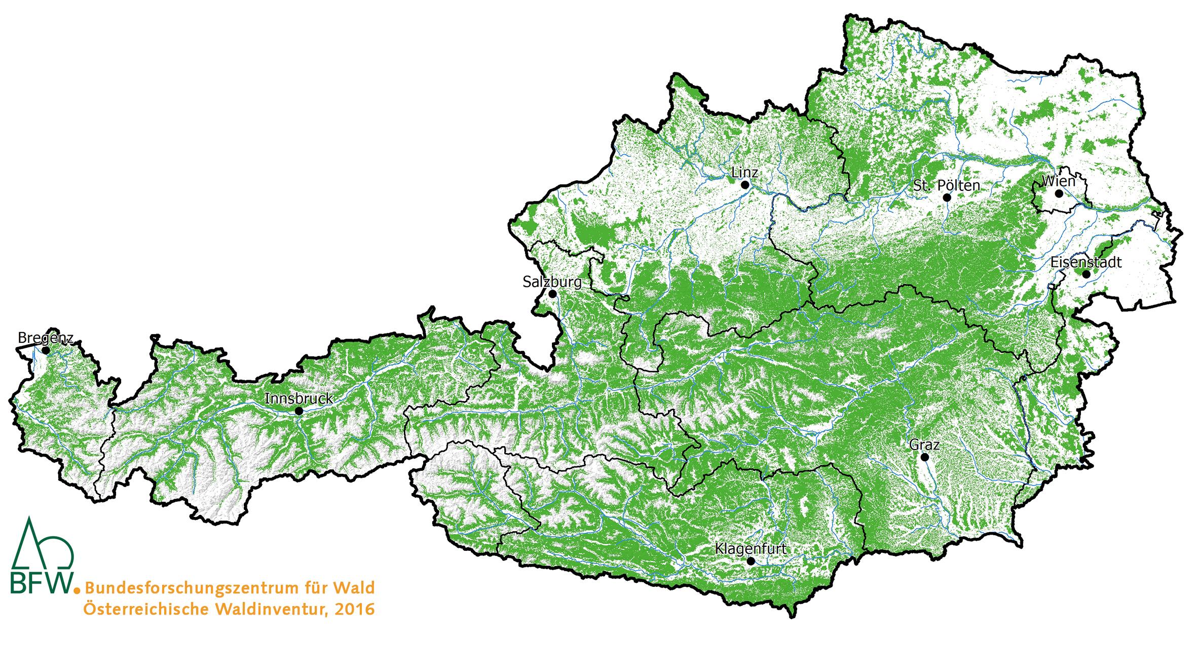 Österreichs Waldkarte