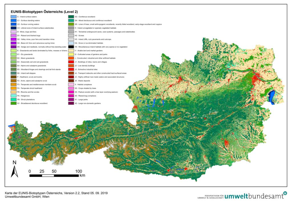 Bild 2: Umweltbundesamt – Ökosystemkarte der Biotoptypen Österreichs