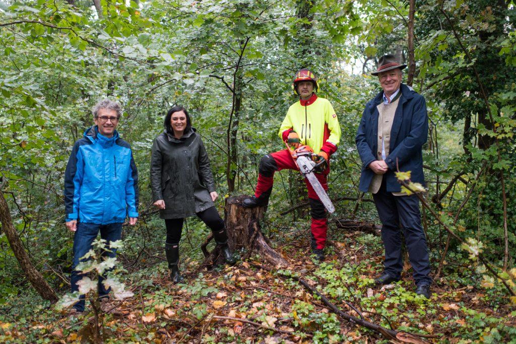 Gruppe von 4 Personen im Wald