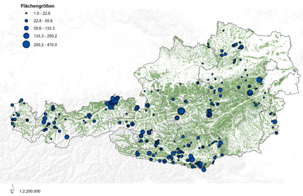 Österreichkarte. Eigezeichnet sind die Orte der Generhaltungswälder