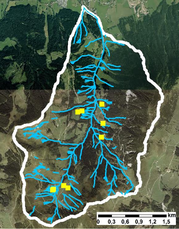 Luftbild vom Brixenbachtal mit den Flüssen in blau eingezeichnet