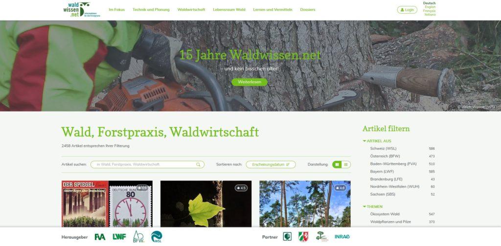 Startseite von waldwissen.net, oben großes Bild von Baum mit Motorsaege