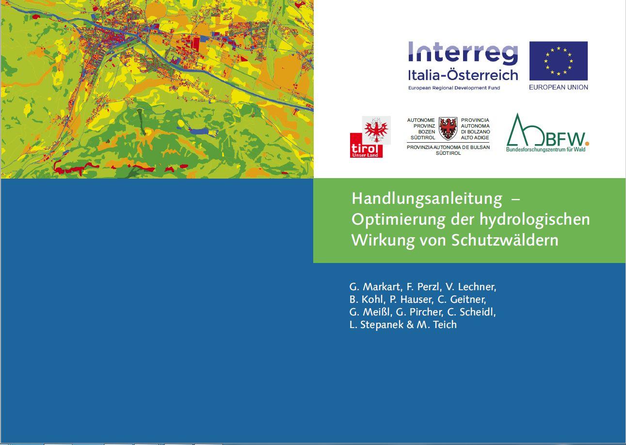 Zu sehen ist die Titelseite des Handbuchs, links oben eine in gelb und grün gehaltenes Satellitenbild, unten blauer Balken, rechts Interreg-Logo