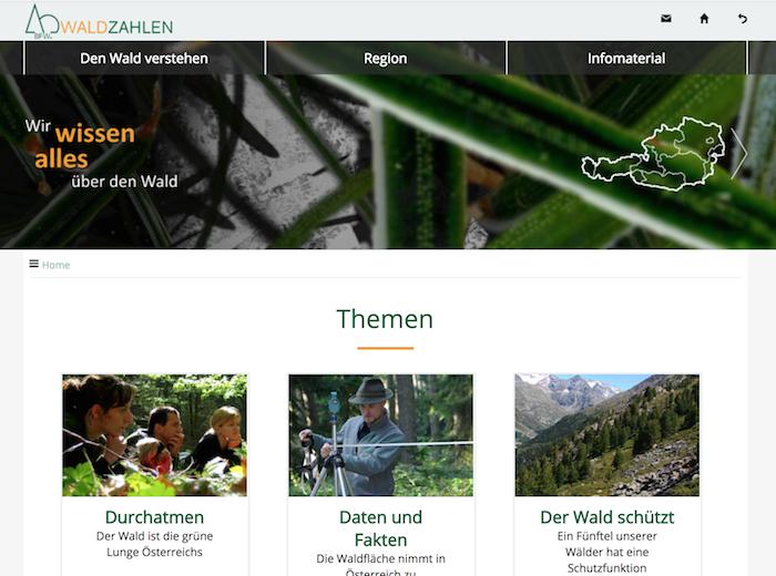 Startseite von www.waldzahlen.at